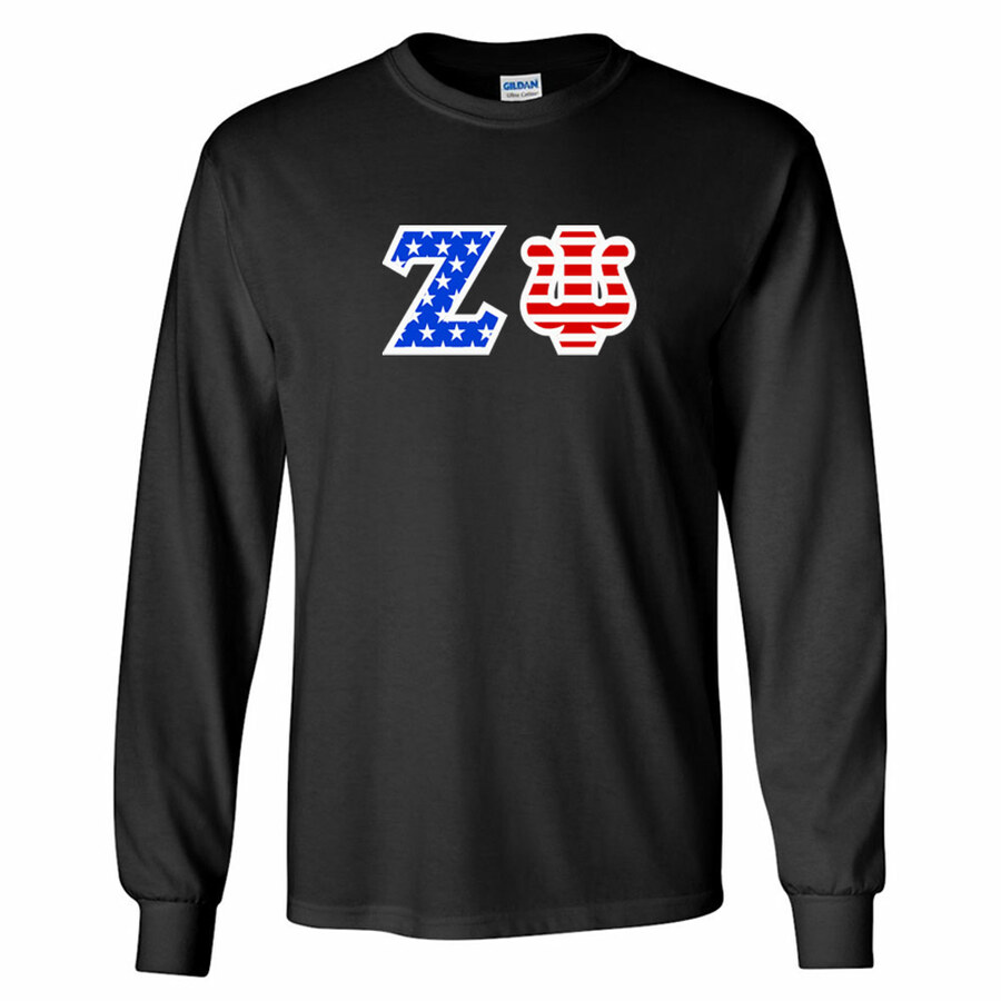 Zeta Psi Greek Letter American Flag long sleeve tee