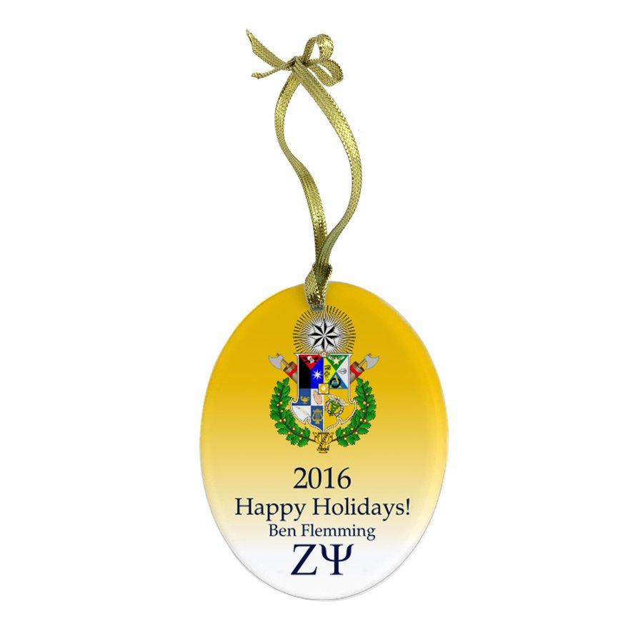 Zeta Psi Holiday Color Crest - Shield Glass Ornament