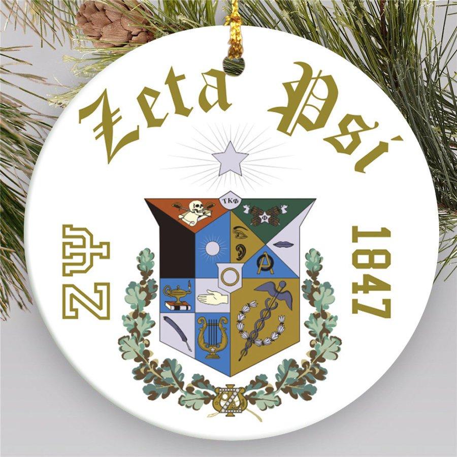Zeta Psi Round Christmas Shield Ornament