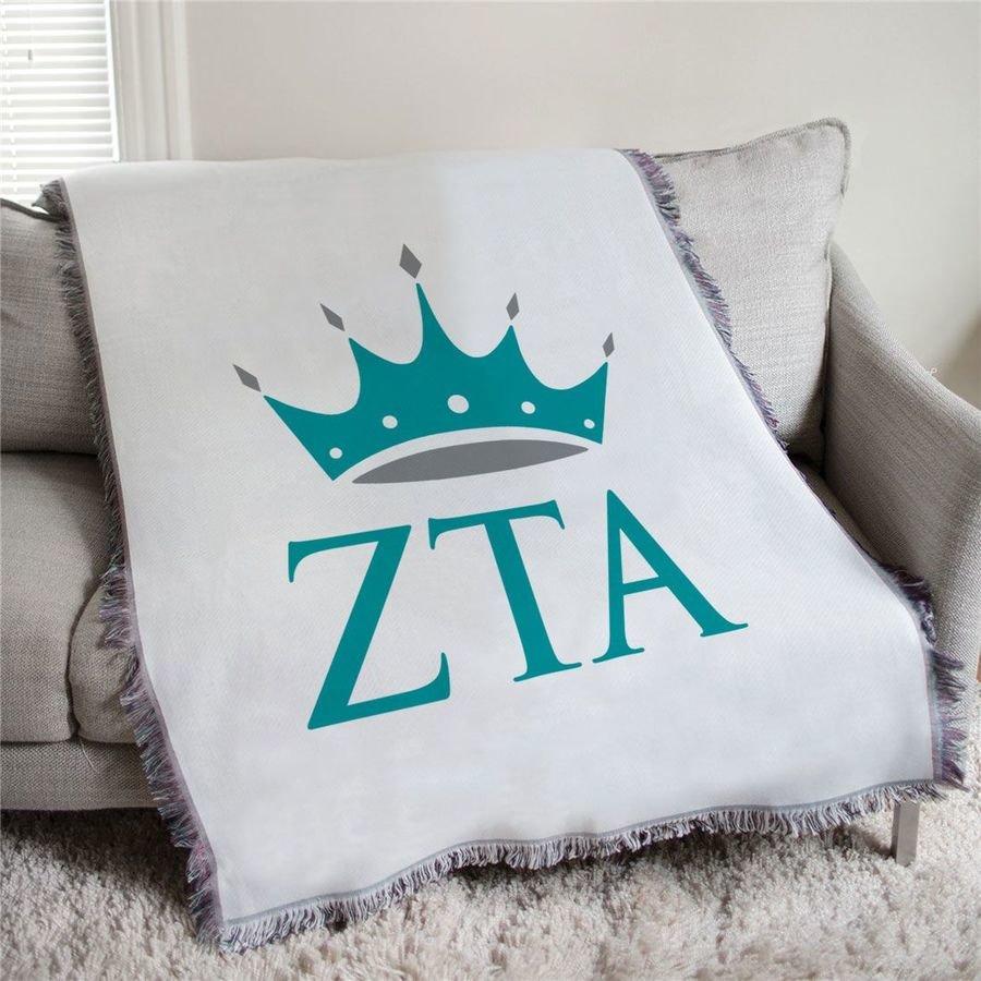 Zeta Tau Alpha Crown Afghan Blanket Throw
