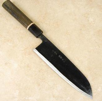 Ishikawa White #2 Black Santoku 190mm Bog Oak