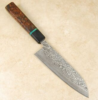 Shiro Kamo R2 Damascus Santoku 170mm