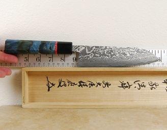 Shiro Kamo Shirogami Damascus Santoku 165mm