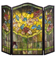 Butterfly Stained Glass Fireplace Screen