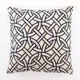 Circle Link Linen Embroidered Pillow - Navy
