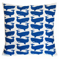 Fun Whales Blue on White Pillow