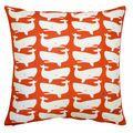 Fun Whales White on Red Pillow