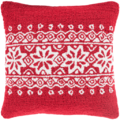 Snowflake Trim Hooked Pillow - Red
