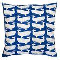 Fun Whales White on Blue Pillow