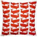Fun Whales Red on White Pillow
