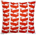 Fun Whales Red on White Pillow