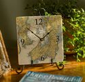 8-inch Marble Nautical Map Clock - Customize Your Location