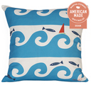 Wild Waves in Turquoise Pillow