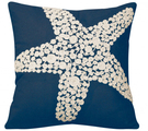 Navy Crewel Rope Knotted Starfish Indoor Pillow