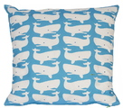 Fun Whales White on Turquoise Pillow