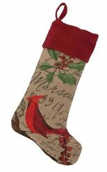 Cardinal Burlap Christmas Stocking<font color =a8bb35> Sold out</font>