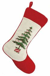 Diagonal Red and White Tree Pot Christmas Stocking<font color =a8bb35> Sold out</font>