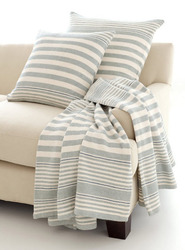 Rugby Stripe Light Blue Woven Cotton Throw<font color=cf2317> 20% Off</font>