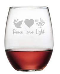 Set of 4 Wine Glasses: Peace, Love & Light Stemless or With Stem