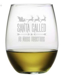 Set of 4 Stemless Wine Glasses - Santa Called