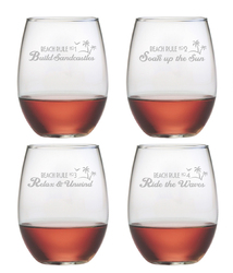 Beach Rules Stemless Wine Glasses Set of 4
