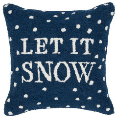 Hand hooked Let It Snow Holiday Pillow