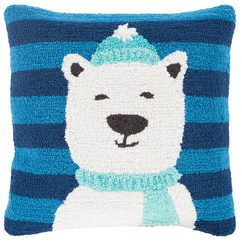Hand hooked Polar Bear Holiday Pillow