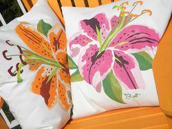 Stargazer Lily Outdoor Pillow
