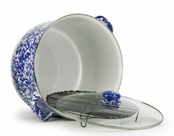 Large Blue Swirl 18 Quart Enamelware Stock Pot with Rack