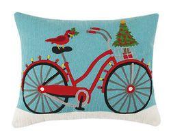 Beach Cruiser Crewel Holiday Pillow