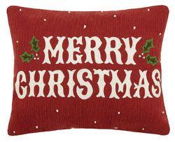 Vintge Merry Christmas Crewel Holiday Pillow