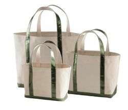 Glam Canvas Natural/Emerald Tote - 3 Sizes<font color=cf2317> 20% Off</font>