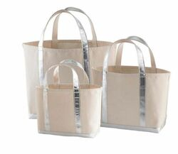 Glam Canvas Natural/Silver Tote - 3 Sizes<font color=cf2317> 20% Off</font>