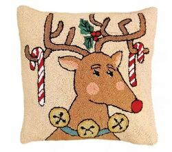 Reindeer and Candy Cane Christmas Pillow