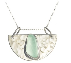 Half Moon Sea Glass Pendant Necklace