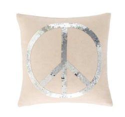 Peace Silver Sequin Pillow