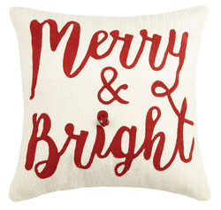 Merry & Bright Crewel Holiday Pillow
