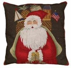 Santa with Gifts Christmas Pillow