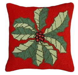 Large Holly Hooked Pillow