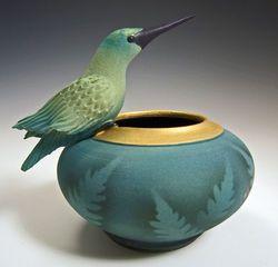 Ceramic Resting Hummingbird Bowl