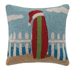 Surfboard with Santa Hat Hooked Pillow