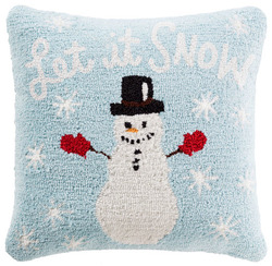Hand hooked Snowman Holiday Pillow