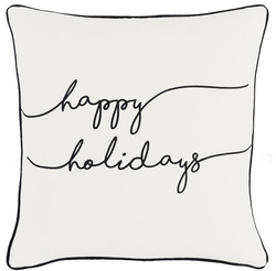 Happy Holidays Pillow White