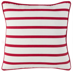 White With Red Stripe Pillow