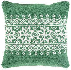 Hand hooked Green Snowflake Holiday Pillow