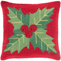 Holly on Red Hooked Pillow
