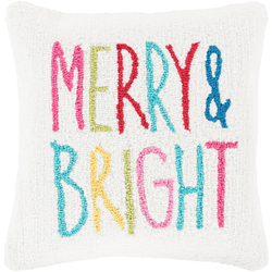 Merry & Bright Hooked Pillow