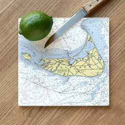Nautical Map Glass Cutting Board - Customize your Location