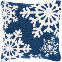 Snowflake Hooked Pillow - Blue