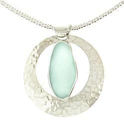 Full Moon Sea Glass Pendant Necklace